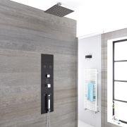 Panel de Ducha Empotrable Hidromasaje Minimalista Negro con Alcachofa de Ducha Fija de 200mm y Brazo de Ducha de Techo de 50mm - Llis