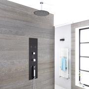 Panel de Ducha Empotrable Hidromasaje Minimalista Cromo Cepillado con Alcachofa de Ducha Fija de 300mm con Brazo de Ducha Mural  - Lisse