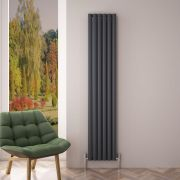 Radiador de Diseño Vertical Doble - Antracita - 1800mm x 350mm x 76mm - 1502 Vatios - Revive Air