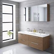Mueble de Lavabo Suspendido Doble con Acabado Color Efecto Roble 1440x510x550mm con Lavabo Integrado - Langley