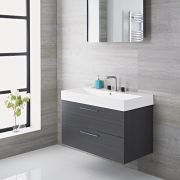 Mueble de Lavabo Suspendido con Acabado de Color Gris 900x480x600mm con Lavabo Integrado - Langley
