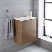 Mueble de Lavabo Suspendido Color Efecto Roble 500x300x600mm con Lavabo Integrado - Ranwick