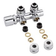 "Llaves Angulares Cromadas para Radiador y Toallero de 3/4"" con  Adaptadores para Tubos de Cobre 12mm - Multiblock H"