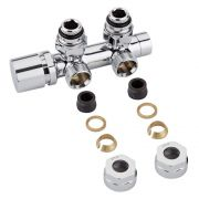 "Llaves Angulares Cromadas para Radiador y Toallero de 3/4"" con  Adaptadores para Tubos de Cobre 14mm - Multiblock H"