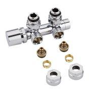 """Llaves Angulares Cromadas para Radiador y Toallero de 3/4"""" con  Adaptadores para Tubos de PEX o Multicapa de 14mm - Multiblock H"""