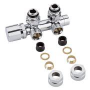 "Llaves Angulares Cromadas para Radiador y Toallero de 3/4"" con  Adaptadores para Tubos de Cobre 15mm - Multiblock H"