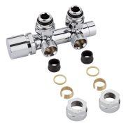 "Llaves Angulares Cromadas para Radiador y Toallero de 3/4"" con  Adaptadores para Tubos de Cobre 16mm - Multiblock H"