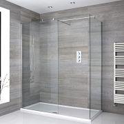 Mampara para Ducha de Obra de 1400x900mm con 2 Hojas de Vidrio Fijas, Perfilería Cromada y Plato de Ducha Blanco