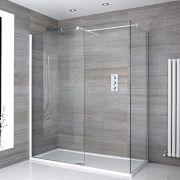 Mampara para Ducha de Obra de 1400x900mm con 2 Hojas de Vidrio Fijas con Plato de Ducha y Perfilería Blanca