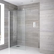 One Piece Wall-Mounted Glass with Support Arm with Drain and White profile 1400mm