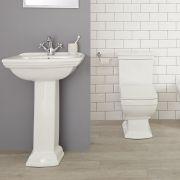 Conjunto Tradicional Cuadrado Blanco para Cuarto de Baño Completo con Lavabo Monoforo, Pedestal, Inodoro y Cisterna de Cerámica - Chester