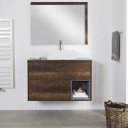 Mueble de Lavabo Mural de 1000mm Color Roble Oscuro con Diseño Abierto con Lavabo de Sobre Encimera Rectangular- Hoxton