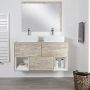 Mueble de Lavabo Mural de 1200mm Color Roble Claro con Diseño Abierto con Lavabo de Sobre Encimera Rectangular - Hoxton