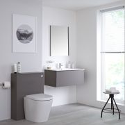 Mueble de Baño de 800mm Color Gris Opaco con Inodoro y Lavabo Disponible con Opción LED - Newington