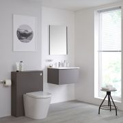 Mueble de Baño de 600mm Color Gris Opaco Completo con Cisterna, Inodoro y Lavabo Disponible con Opción LED - Newington