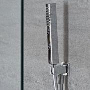 Kit de Ducha Cuadrado con Telefonillo de Ducha Completo con Soporte Mural y Flexo de Ducha