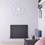 Radiador de Diseño Horizontal Doble - Antracita - 635mm x 834mm x 71mm - 1306 Vatios - Sloane