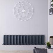 Radiador de Diseño Horizontal Doble - Antracita - 400mm x 1647mm x 78mm -1733 Vatios – Revive
