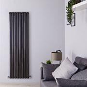 Radiador de Diseño Vertical Doble - Negro Lúcido - 1600mm x 472mm x 78mm - 1638 Vatios - Revive