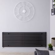 Radiador de Diseño Horizontal - Negro Lúcido - 590mm x 1600mm x 55mm - 1298 Vatios - Revive