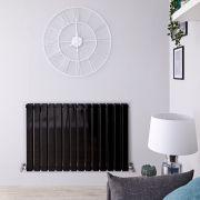 Radiador de Diseño Horizontal Doble - Negro Lúcido - 635mm x 980mm x 58mm - 1337 Vatios - Delta