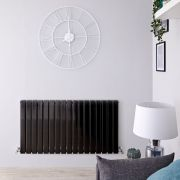 Radiador de Diseño Horizontal Doble - Negro Lúcido - 635mm x 1190mm x 58mm - 1624 Vatios - Delta