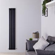 Radiador de Diseño Vertical - Negro Lúcido - 1600mm x 280mm x 60mm - 630 Vatios - Rombo