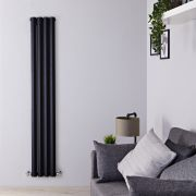 Radiador de Diseño Vertical Doble - Negro Lúcido - 1600mm x 280mm x 86mm - 983 Vatios - Rombo