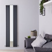 Radiador de DiseñoCon Espejo - Vertical - Doble - Antracita - 1800mm x 499mm x 105mm - 1613 Vatios - Revive