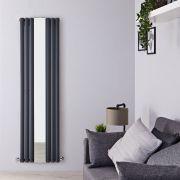 Radiador de DiseñoCon Espejo - Vertical - Doble - Antracita - 1800mm x 499mm x 105mm - 1613 Vatios - Revive