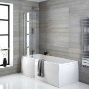 Conjunto con Bañera Asimétrica Curva, Faldones de Bañera 1650mm y Mampara – Izquierda