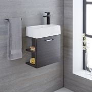 Mueble de Lavabo Suspendido con Acabado Color Gris 400x200x465mm con Lavabo Integrado - Langley