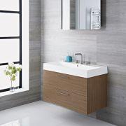 Mueble de Lavabo Suspendido con Acabado Color Efecto Roble 900x480x600mm con Lavabo Integrado - Langley