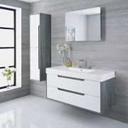 Mueble de Lavabo Suspendido con Acabado Color Blanco Lacado 1200x500x600mm con Lavabo Integrado - Newport