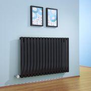 Radiador de Diseño Eléctrico Horizontal - Negro Lúcido - 635mm x 1000mm x 55mm - Elemento Termostático de 1000W - Revive