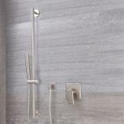 Mezclador de Ducha Manual y Barra de Ducha Deslizante de Color Níquel Cepillado - Aldwick