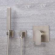 Conjunto de Ducha con Mezclador de Ducha Manual de 1 Función con Telefonillo Cuadrado Color Níquel Cepillado - Harting
