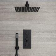 Llave de Ducha Termostática Empotrable Triple de 2 Funciones Negra con Alcachofa Cuadrada de 300x300mm y Telefonillo - Nox