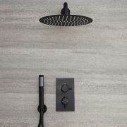 Llave de Ducha Termostática Empotrable de 2 Función con Desviador Negra con Alcachofa de Ducha Redonda de 300mm y Telefonillo - Nox