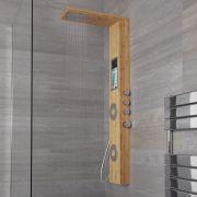 Panel de Ducha Termostático de 3 Funciones 1450x220x540mm Efecto Bambù con Erogador Integrado, Repisa y Ducha de Mano con Flexo de Ducha -  Iako