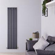 Radiador de Diseño Vertical - Antracita - 1780mm x 420mm x 60mm - 1050 Vatios - Rombo