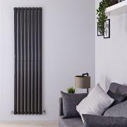 Radiador de Diseño Vertical - Negro Lúcido - 1780mm x 472mm x 56mm - 1189 Vatios - Revive