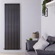Radiador de Diseño Vertical - Negro Lúcido - 1780mm x 590mm x 55mm - 1487 Vatios - Revive