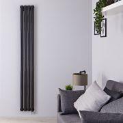 Radiador de Diseño Eléctrico Vertical Doble - Negro Lúcido - 1780mm x 236mm x 78mm - 1 Elemento de 1200W - Revive