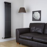 Radiador de Diseño Vertical - Negro Lúcido - 1780mm x 354mm x 80mm - 1043 Vatios - Savy