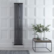 Radiador de Diseño Vertical Doble Tradicional - Negro - 1800mm x 383mm x 68mm - 1245 Vatios - Regent