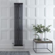 Radiador de Diseño Vertical Triple Tradicional - Negro - 1800mm x 383mm x 100mm - 1558 Vatios - Regent