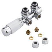 """Llaves Angulares Cromadas para Radiador y Toallero de 3/4"""" con  Cabezal Termostático Blanco y Multi Adaptador para Tubos de 16mm - Multiblock H"""