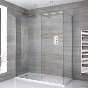 Mampara para Ducha de Obra de 1400x900mm con 2 Hojas de Vidrio Fijas y Plato de Ducha Blanco Estándar