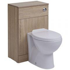 Mueble de Baño Color Roble Completo con Inodoro Integrado 76x50x30cm Tapa para WC Oval